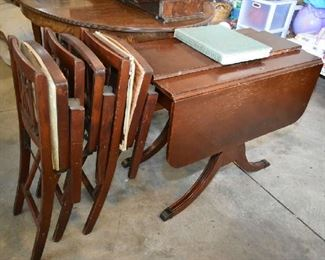 DROP LEAF TABLE, FOLDING CHAIRS