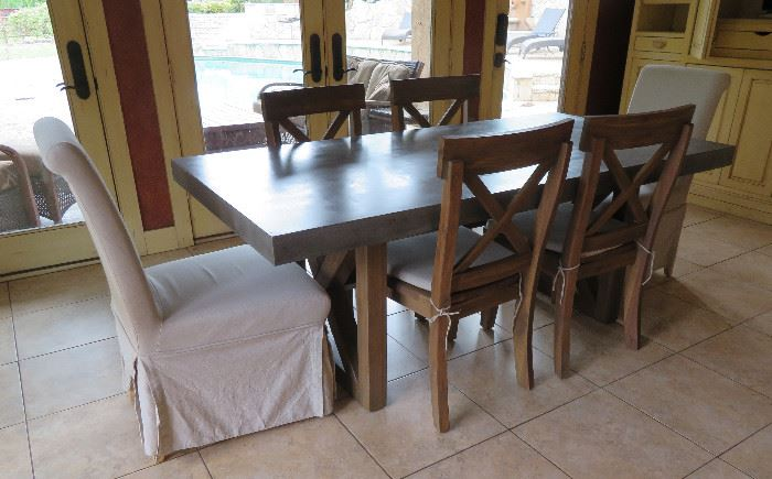 Modern rustic dining table and chairs