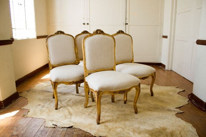 Gold Dinning Room Chair Set