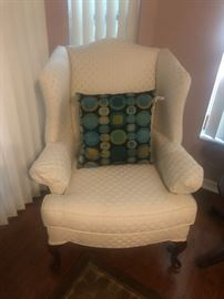 White Wing Back chairs