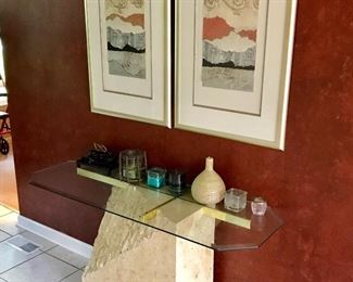 Sofa table, wall art