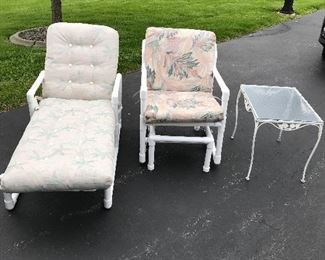 Outdoor lounge and glider chairs