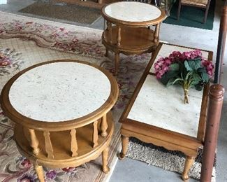 Pair of  round  marble top End tables and matching marble top coffee table