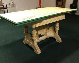 Enamel top table with decorative wooden Base