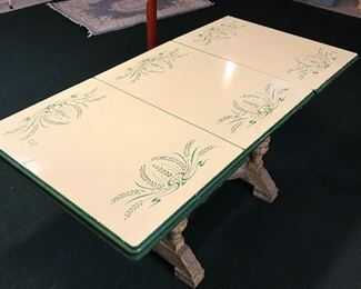 Enamel top table with wooden base