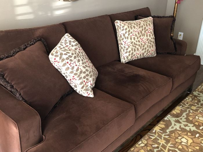 3 cushion couch in a dark chocolate color - excellent condition by Ethan Allen