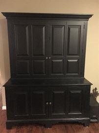 Entertainment center - console and hutch in black with pewter hardware by Ethan Allen