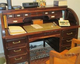 HAND MADE ROLL TOP DESK (2 PIECES) MADE IN1800S BY RELATIVE