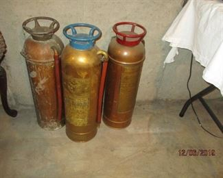 OLD BRASS FIRE EXTINGUISHERS