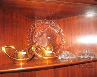 GOLD PLATED HULL SUGAR AND CREAMER AND MISC DEPRESSION GLASS