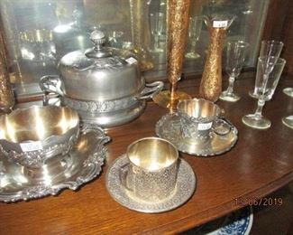 SILVER PLATE BUTTER KEEPER/CHEESE  AND OTHER SILVERPLATE