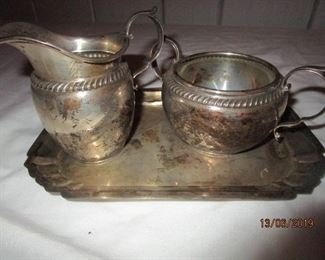 STERLING SUGAR AND CREAM PITCHER SET