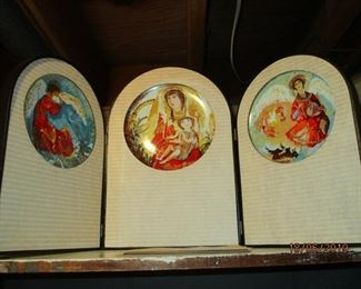 Byzantine Triptych plate set by Gertrude and Frank Russell Barrer,