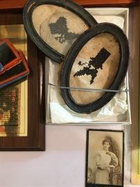Antique cross-stitch and photos