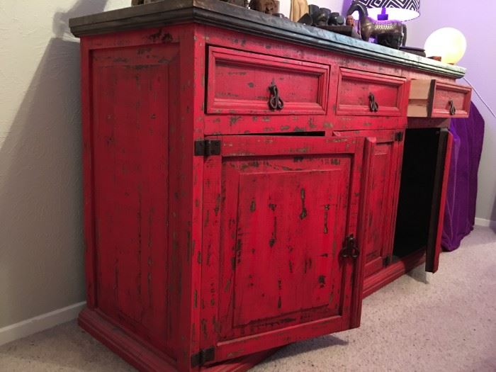 Red distressed cabinet
