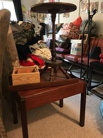 Vintage removable tray table and other tea table on top