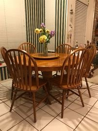 "GORGEOUS 54"" Round wooden table, with removable lazy-susan and six chairs! LIKE NEW!"