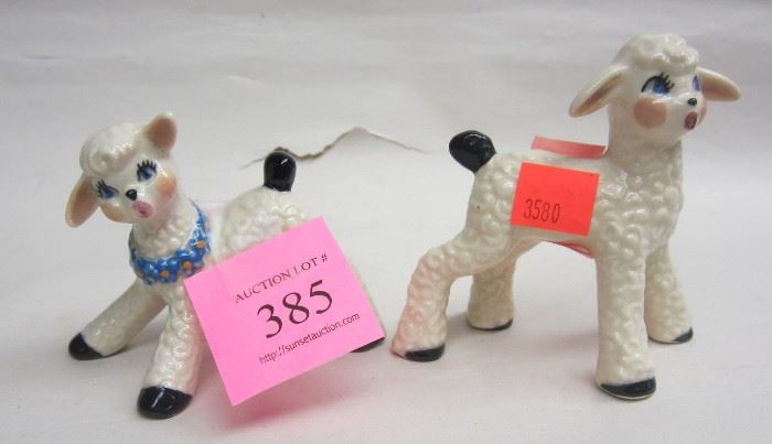 vintage porcelain lambs
