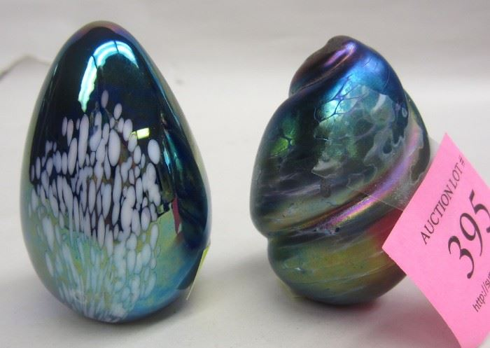 iridized art glass paperweights
