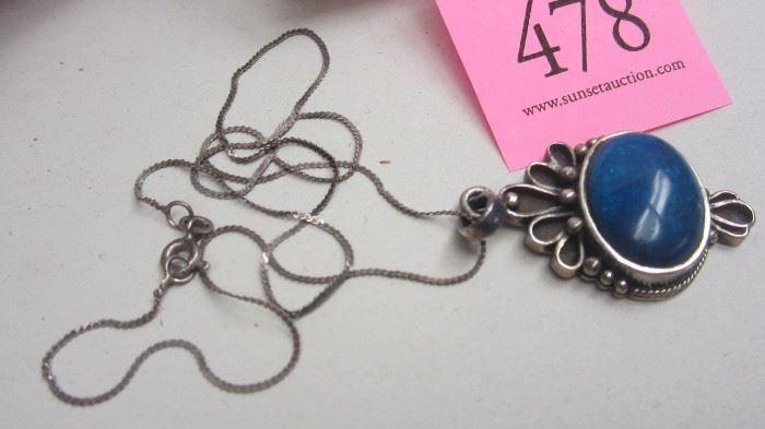 Sterling Lapis pendant