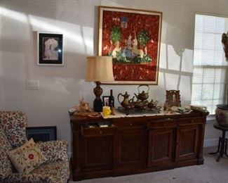 Partial View of Living Room containing Fine Furniture, Silver Tea Set, Wing Back Chair and More! Notice the large Exquisite Needlepoint with Fine Detail, Beautifully Framed!