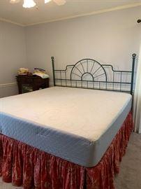 #1bedking mattress set with memory foam  $150.00  #2bedking green metal head board with frame $75.00