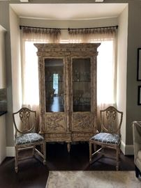 Pair of french inspired chairs, delicate antique paint finish