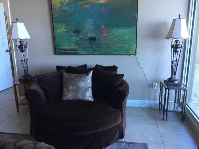 Large loveseat brown velvet - tables sold - lamps available - painting 4' x 5'