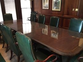 Councill Craftsman 12' Gorgeous Inlaid Table with Pedastal Legs.  This includes a 4' removeable Leaf.  The table has been protected with a custom cut single sheet of glass.  $3000