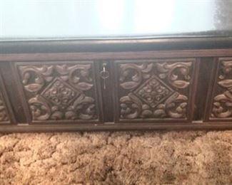 Carved vintage trunk