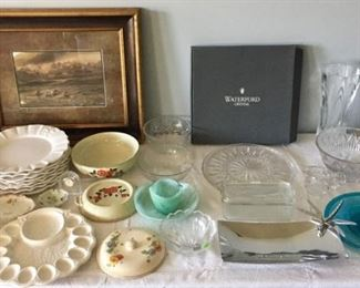 Waterford Crystal, Dishes and Framed Print