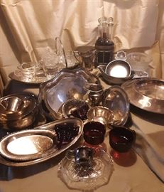 So much silverplate, fun serving pieces and glassware