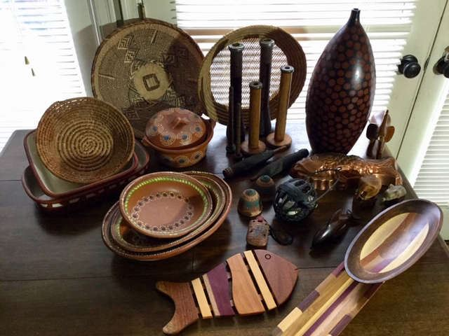 Rustic dishware, baskets and serving pieces