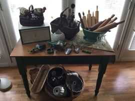 For your vintage kitchen - enamelware, rolling pins, baskets and the cutest farm-style table