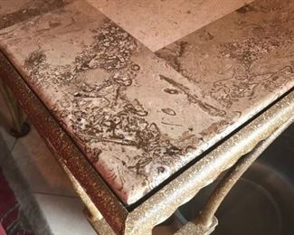 ITALIAN MARBLE TOP SOFA SOFA AND MATCHING END TABLE