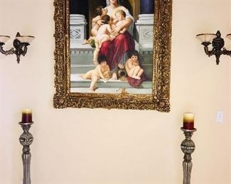 BREATHTAKING MOTHER WITH CHILDREN OIL ON CANVAS PAINTING
