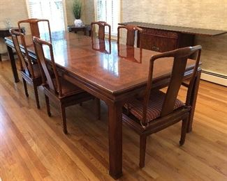 Timelessly elegant, Asian inspired, vintage Henredon Dining Table and Chairs. Chairs have caned seats, all perfect, along with comfy cushions!
