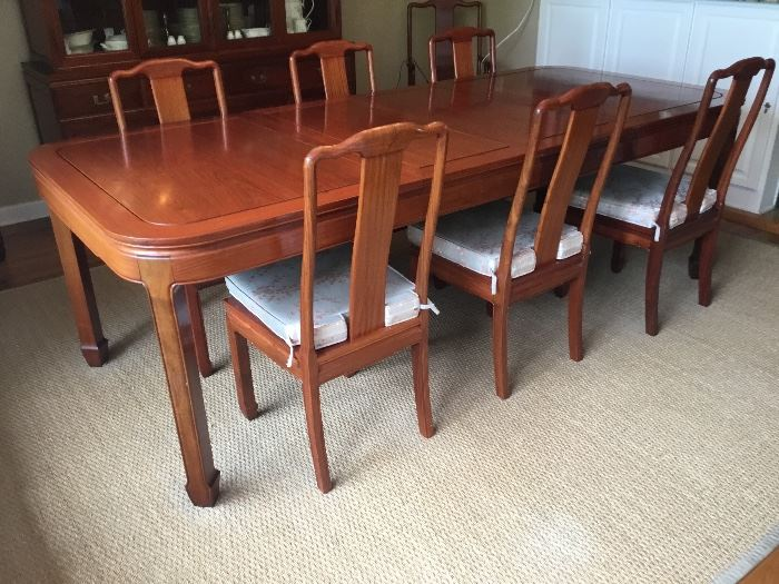 Rosewood dining table 6' or 8' L with 6 chairs & 2 arms