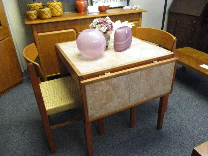 Teak drop leaf table w/2 chairs