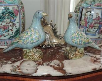 Pair of 20th Century Export Chinese Famille Birds