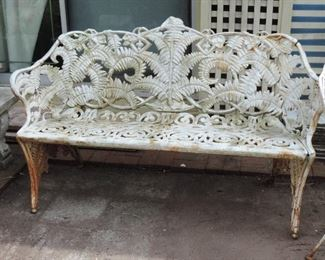 ANTIQUE CAST IRON FERN BENCH