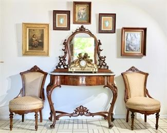 Antique Continental, Marble-Top Console with Attached Carved-Frame Mirror (Could be separated); Pair of 19th Century Side Chairs; French Belle Epoch Clock with Cherubs