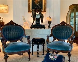 Pair Renaissance Revival Chairs, with Carved Figural Arms and Mohair Upholstery; Needlepoint on Gout Stool and Tall Stool