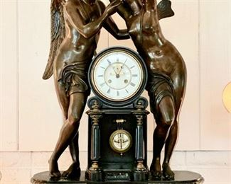"Late 1800's Antique Ansonia 24"" tall Monumental Clock with Open-Face Escapement,  ""Echo & Narcissus"""
