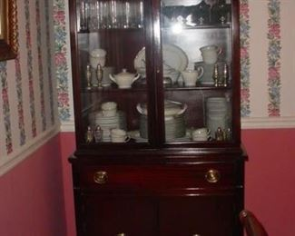 China cabinet..FILLED with Noritake china, service for 12, plus crystal and more
