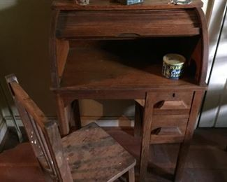 Child's Wooden Desk and Chair.