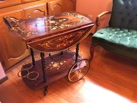 Italian Inlaid Marquetry Tea Cart Drop Leaf - Gorgeous!