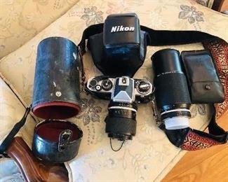 Vintage Nikon Camera Set with 70 - 210 mm Lens.
