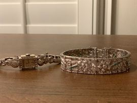 ART DECO 5 carat total weight diamonds w emeralds