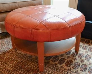 "Pompanoosuc Mills ""Woodstock"" leather top ottoman"